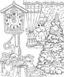 De edelen van de kerstman in het venster royalty-vrije illustratie