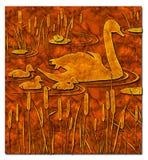 De eend en het kind van de moeder Stock Foto