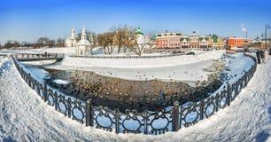 De eenden zwemmen in Kopninka-Rivier in Sergiev Posad Royalty-vrije Stock Foto's