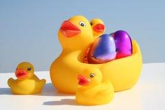 De eendfamilie van Pasen Stock Foto's