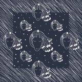 De eenhoorn van de krabbeltatoegering met sterkaart vector illustratie
