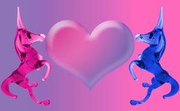 De Eenhoorns van de liefde met het hart Stock Afbeelding