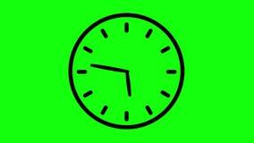 De eenvoudige animatie van de klok naadloze lijn op groene het schermnotulen en uren timelapse stock illustratie