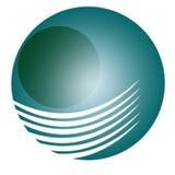 De eenvoudige blauwe 3D gradiënt en het voorwerp van Logo Circle Stock Afbeeldingen