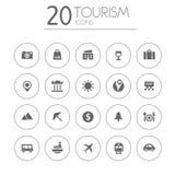 De eenvoudige dunne inzameling van toerismepictogrammen op wit Stock Afbeeldingen