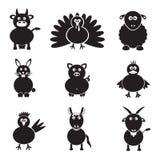 De eenvoudige geplaatste pictogrammen van landbouwbedrijfdieren Royalty-vrije Stock Foto