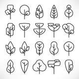 De eenvoudige geplaatste pictogrammen van lijnbomen vector illustratie