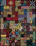 De eenvoudige hand getrokken basis ondertekent het creëren van modern, kleurrijk patroon op zwarte basis Royalty-vrije Stock Foto's