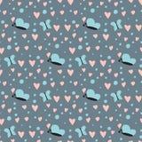 De eenvoudige het patroon van de achtergrond hart scherpe vlinder naadloze roze mooie kleurenkaart viert helder emoticonsymbool vector illustratie