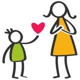 De eenvoudige kleurrijke stok stelt familie voor, jongen die liefde, hart aan moeder op Moeder` s Dag geven, verjaardag royalty-vrije illustratie