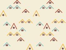 De eenvoudige lijn huisvest naadloos patroon in licht beige met uitstekende kleuren royalty-vrije illustratie