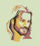 De eenvoudige lijn van Jesus Christ en eenvoudige kleuren vectorportret/eps Royalty-vrije Stock Foto's