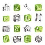De eenvoudige Mobiele pictogrammen van de Telefoon en van de Computer Stock Foto