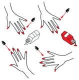 De eenvoudige Mooie pictogrammen van het manicureproces Nagellak die op hand worden toegepast Zwarte close-up als achtergrond Op  Stock Fotografie