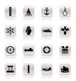 De eenvoudige Overzeese Pictogrammen van de Marine, het Varen en stock illustratie