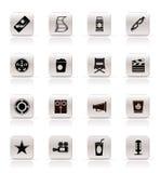 De eenvoudige Pictogrammen van de Bioskoop en van de Film Royalty-vrije Stock Afbeeldingen