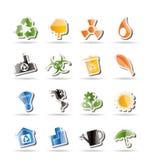 De eenvoudige pictogrammen van de Ecologie en van het Recycling Royalty-vrije Stock Fotografie
