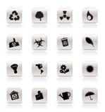 De eenvoudige pictogrammen van de Ecologie en van het Recycling royalty-vrije illustratie