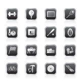 De eenvoudige pictogrammen van de Sportuitrusting en van hulpmiddelen Stock Afbeeldingen