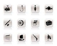 De eenvoudige pictogrammen van de Visserij en van de vakantie Royalty-vrije Stock Fotografie