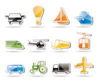 De eenvoudige pictogrammen van het Vervoer en van de reis Stock Fotografie