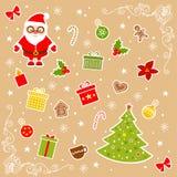 De eenvoudige pictogrammen van Kerstmis Stock Afbeeldingen