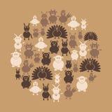 De eenvoudige pictogrammen van landbouwbedrijfdieren in cirkel Stock Afbeelding