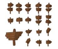 De eenvoudige reeks houten platen kan symbolen, pictogrammen, richtingen zijn Stock Afbeeldingen