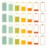 De eenvoudige Reeks van de het Pictogramreeks van het Batterijleven Stock Afbeeldingen