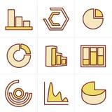 De Eenvoudige reeks van de pictogrammenstijl diagram en grafieken Royalty-vrije Stock Fotografie