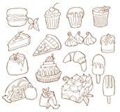 De eenvoudige Reeks van Dessert bracht Vectorlijnpictogrammen met elkaar in verband Geïsoleerde beeldverhaalillustratie vector illustratie