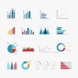 De eenvoudige reeks van diagram en de grafieken brachten vectorpictogrammen met elkaar in verband Stock Foto's