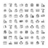 De eenvoudige reeks van gift bracht overzichtspictogrammen met elkaar in verband Stock Afbeelding