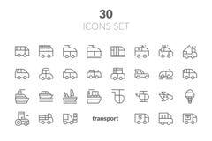 De eenvoudige Reeks van Openbaar Vervoer bracht Vectorlijnpictogrammen met elkaar in verband Contai royalty-vrije illustratie
