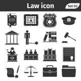 De eenvoudige reeks van Wet en Rechtvaardigheid bracht vector geplaatste pictogrammen met elkaar in verband Stock Fotografie
