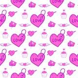 De eenvoudige rode van het achtergrond hart scherpe vector naadloze patroon roze mooie kleurenkaart viert helder emoticonsymbool royalty-vrije illustratie