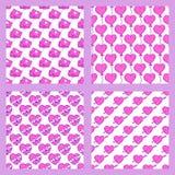 De eenvoudige rode van het achtergrond hart scherpe vector naadloze patroon roze mooie kleurenkaart viert helder emoticonsymbool stock illustratie