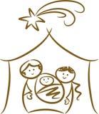 De eenvoudige Scène van de Geboorte van Christus Stock Foto
