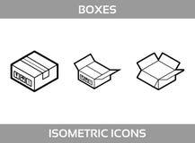 De eenvoudige Vastgestelde ofIsometrische verpakkende Pictogrammen van de dozen VectorlijnartDe zwart-witte isometrische pic Royalty-vrije Stock Foto's
