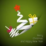 De eenvoudige vector groene illustratie van de Kerstmiskaart Stock Afbeelding