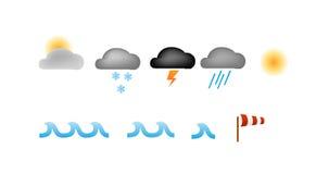 De eenvoudige vector van weerpictogrammen Stock Afbeeldingen