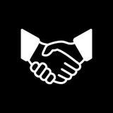 De eenvoudige vectorillustratie van het handdrukpictogram De overeenkomst of de partner gaat akkoord royalty-vrije illustratie
