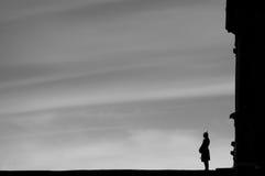 De eenzame Bewaarder van het Kasteel Stock Afbeeldingen