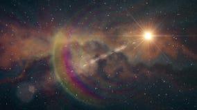 De eenzame grote ster die glanst in zachte het bewegen zich van de de achtergrond nachthemel van nevelsterren de animatie van de  stock footage