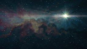 De eenzame grote ster die glanst in zachte het bewegen zich van de de achtergrond nachthemel van nevelsterren de animatie van de  stock videobeelden