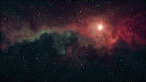 De eenzame grote ster die glanst in zachte het bewegen zich van de de achtergrond nachthemel van nevelsterren de animatie van de  stock video