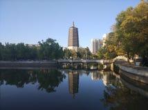 De eenzame toren en de bezinning in het water stock afbeelding