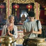 De Eerbied van de paarceremonie het Bidden Tempelconcept stock foto's