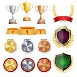 De Eerprijs van de ceremoniewinnaar De trofee kent Koppen, Gouden Laurel Wreath With Red Ribbon en Gouden Schild, Medaillesmalpla Royalty-vrije Stock Afbeelding