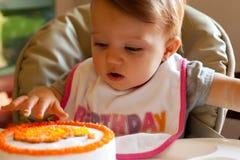 De Eerste Aanraking van de Verjaardag van het kind Royalty-vrije Stock Foto